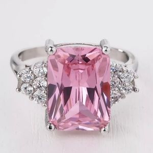 Pink Sapphire Gemstone Silver Ring Size 8